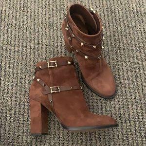 Valentino Suede Rockstud Ankle Booties